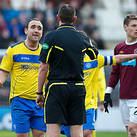 Hearts v St Johnstone...05.02.12.. Scottish Cup 5th Round<br /> Lee Croft pleads with ref Craig Thomson<br /> Picture by Graeme Hart.<br /> Copyright Perthshire Picture Agency<br /> Tel: 01738 623350  Mobile: 07990 594431