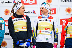 February 24, 2019 - Seefeld In Tirol, AUSTRIA - 190224 Stina Nilsson and Maja Dahlqvist of Sweden celebrates at the podium after in women's team sprint final during the FIS Nordic World Ski Championships on February 24, 2019 in Seefeld in Tirol..Photo: Joel Marklund / BILDBYRN / kod JM / 87888 (Credit Image: © Joel Marklund/Bildbyran via ZUMA Press)