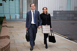 © Licensed to London News Pictures. 28/07/2020. London, UK. Charlie Elphicke arrives at Southwark Crown Court with his wife Natalie Elphicke . The former MP for Dover faces three charges of sexual assault against two women .  Photo credit: George Cracknell Wright/LNP