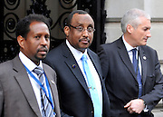 © Licensed to London News Pictures. 23/02/2012, London, UK. (Centre) Dr Abdiweli Mohamed Ali Prime Minister TFG.  leaves a breakfast meeting at Downing Street. UK Prime Minister David Cameron and Foreign Secretary William Hague host a major London conference to discuss piracy, protection of ships in the Gulf of Aden, Islamic extremists, the causes of conflict and instability in Somalia, and support for surrounding countries. Senior representatives from foreign governments are in attendance. Photo credit : Stephen Simpson/LNP