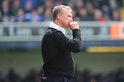 Bury manager Lee Clark with hand to mouth during the EFL Sky Bet League 1 match between Southend United and Bury at Roots Hall, Southend, England on 30 April 2017. Photo by Matthew Redman.