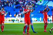 Wales midfielder Gareth Bale thanks the fans during the UEFA European 2020 Qualifier match between Wales and Slovakia at the Cardiff City Stadium, Cardiff, Wales on 24 March 2019.