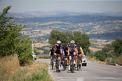 Alexis Ryan (USA) of CANYON//SRAM Racing radios back to the team car while the main climb of Stage 7 of the Giro Rosa - a 141.9 km road race, between Isernia and Baronissi on July 6, 2017, in Isernia, Italy. (Photo by Balint Hamvas/Velofocus.com)