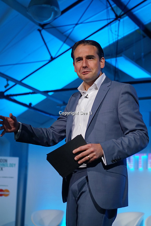 London,England,UK : 20 th June 2016 :  Presenter Oli Barrett is a Director, Cospa & Startup Britain at the London Technology Week 2016 opening press day at The Yard,Worship Street, London. Photo by See Li