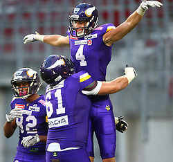 29.07.2017, Woertersee Stadion, Klagenfurt, AUT, AFL, Austrian Bowl XXXIII, Dacia Vikings Vienna vs Swarco Raiders Tirol, im Bild Jubel von Santino Schlimpert (Dacia Vikings Vienna, #82, WR), Aleksandar Milanovic (Dacia Vikings Vienna, #61, OL) und Bernhard Seikovits (Dacia Vikings Vienna, #4, QB, WR, K) nach dem Touchdown // during the Austrian Football League Austrian Bowl XXXIII game between Dacia Vikings Vienna vs Swarco Raiders Tirol at the Woertersee Stadion, Klagenfurt, Austria on 2017/07/29. EXPA Pictures © 2017, PhotoCredit: EXPA/ Thomas Haumer
