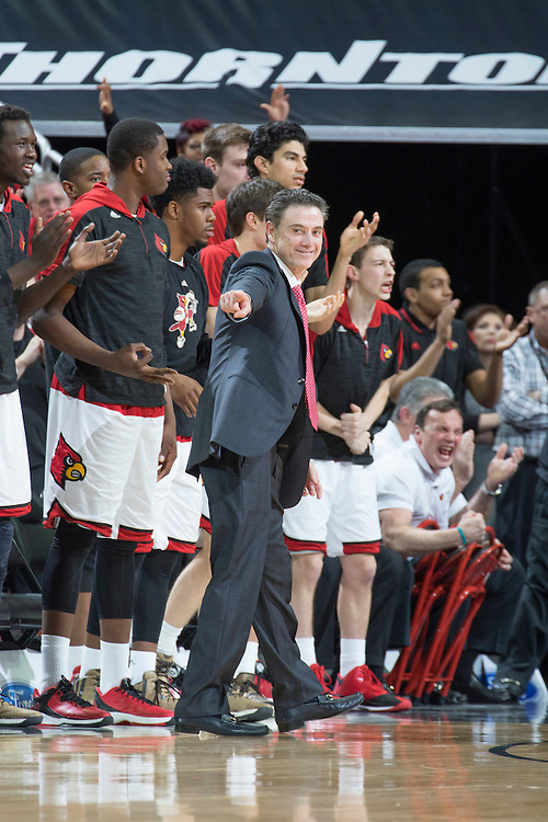 Louisville head coach Rick Pitino. <br /> <br /> The University of Louisville hosted Notre Dame, Wednesday, March 04, 2015 at Yum Center in Louisville. <br /> <br /> Photo by Jonathan Palmer