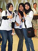 Muslim teenage girls wearing headscarves. Kuala Lumpur, Malaysia 2009