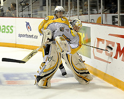 Brandon Wheat Kings' goalie Jacob De Serres clears the puck in Game 6 of the 2010 MasterCard Memorial Cup in Brandon, MB on Wednesday May 19, 2010. Photo by Aaron Bell/CHL Images
