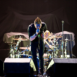17 April, 2009: Lead Singer for Saving Abel Jared Weeks and Drummer Blake Dixon perform as one of the opening acts in support of Nickelback's new album 'Dark Horse' for their 2009 concert tour stop at the New Orleans Arena in New Orleans, Louisiana.