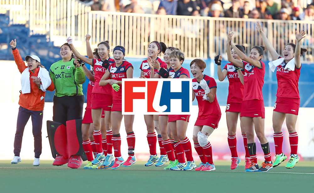 New Zealand, Auckland - 22/11/17  <br /> Sentinel Homes Women&rsquo;s Hockey World League Final<br /> Harbour Hockey Stadium<br /> Copyrigth: Worldsportpics, Rodrigo Jaramillo<br /> Match ID: 10303 - GER vs KOR<br /> Photo: (13) CHO Eunji, (11) PARK Seunga, (Head coach) HUH SANG Young