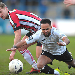 TELFORD COPYRIGHT MIKE SHERIDAN Brendon Daniels of Telford is fouled by Jake Moult of Altrincham during the Vanarama Conference North fixture between AFC Telford United and Altrincham at The New Bucks Head on Saturday, February 1, 2020.<br /> <br /> Picture credit: Mike Sheridan/Ultrapress<br /> <br /> MS201920-044