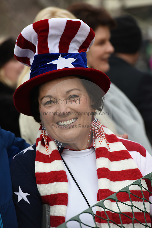 A supporter of Donald Trump wears an American flag costume during the President Inauguration Ceremony on Capitol Hill January 20, 2017 in Washington, DC. Donald Trump became the 45th President of the United States in the ceremony.
