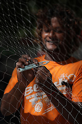 MAURITIUS TAMARIN 4MAY13 - Artisanal fisherman Nash in Tamarin repairs his nets on the beach.<br /> <br /> The Greenpeace ship Esperanza is on patrol in the Indian Ocean documenting fishing activties.<br /> <br /> jre/Photo by Jiri Rezac / Greenpeace