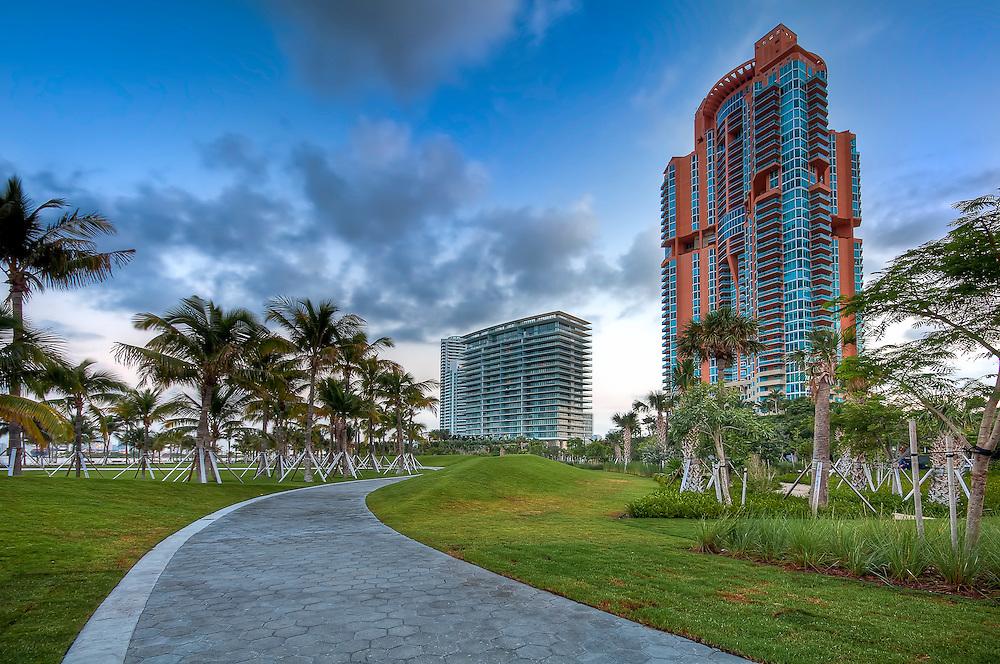 View of apartment condos in South Pointe Park, Miami Beach.