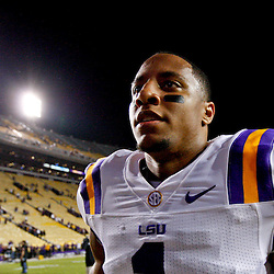 November 10, 2012; Baton Rouge, LA, USA;  LSU Tigers safety Eric Reid (1) walks off the field following a win over the Mississippi State Bulldogs at Tiger Stadium.  LSU defeated Mississippi State 37-17. Mandatory Credit: Derick E. Hingle-US PRESSWIRE