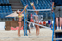 Andreja Vodeb of Slovenia vs. Becchara Palmer of Australia at A1 Beach Volleyball Grand Slam tournament of Swatch FIVB World Tour 2010, on July 27, 2010 in Klagenfurt, Austria. (Photo by Matic Klansek Velej / Sportida)