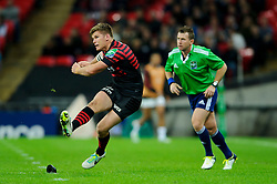 Saracens Fly-Half (#10) Owen Farrell kicks a Penalty during the first half of the match - Photo mandatory by-line: Rogan Thomson/JMP - Tel: 07966 386802 - 18/10/2013 - SPORT - RUGBY UNION - Wembley Stadium, London - Saracens v Toulouse - Heineken Cup Round 2.