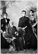 M. Sklodovski with his three surviving daughters. Left to right; Many (Marie Curie 1867-1934), Bronya and Hela.