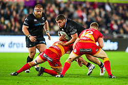 Ospreys' Nicky Smith is tackled by Dragons' James Benjamin - Mandatory by-line: Craig Thomas/JMP - 27/10/2017 - RUGBY - Liberty Stadium - Swansea, Wales - Ospreys v Dragons - Guinness Pro 14