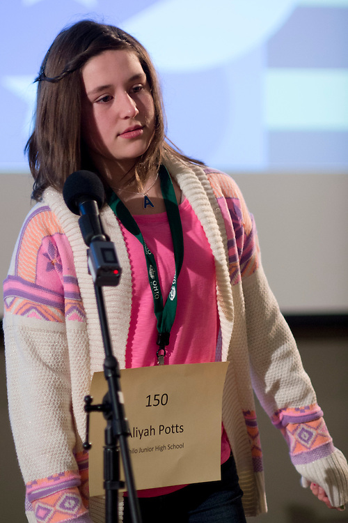 Aliyah Potts of Philo Junior High School introduces herself during the Southeastern Ohio Regional Spelling Bee Regional Saturday, March 16, 2013. The Regional Spelling Bee was sponsored by Ohio University's Scripps College of Communication and held in Margaret M. Walter Hall on OU's main campus.