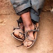 Bolivia. Khapi, a village in the shadow of mount Illimani glacier outside of La Paz...The feet of Marcus (67) a farmer