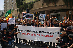May 5, 2019 - Beirut, Lebanon - Protesters are seen holding a banner and placards while chanting slogans during the demonstration..Hundreds of people from different nationalities marched to protest for the rights of migrant workers, shouting slogans and holding banners calling for the abolishment of Lebanon's controversial kafala sponsorship system. (Credit Image: © Adib Chowdhury/SOPA Images via ZUMA Wire)