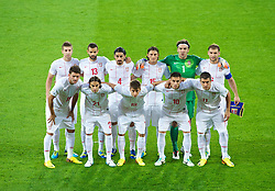 CARDIFF, WALES - Tuesday, September 10, 2013: Serbia's players line up for a team group photograph before the 2014 FIFA World Cup Brazil Qualifying Group A match against Wales at the Cardiff CIty Stadium. Back row L-R: Matija Nastasic, Ivan Radovanovic, Milan Bisevac, Dejan Lekic, goalkeeper Vladimir Stojkovic, captain Branislav Ivanovic. Front row L-R: Filip Djordjevic, Lazar Markovic, Filip Duricic, Dusan Tadic, Aleksandar Kolarov. (Pic by David Rawcliffe/Propaganda)