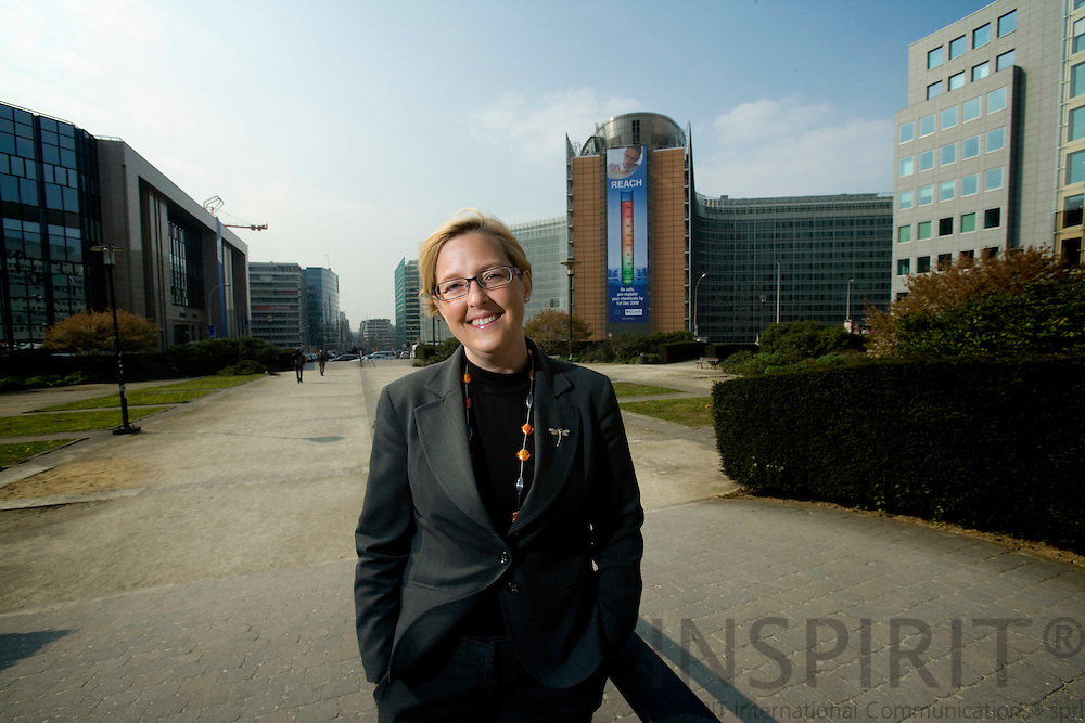 BRUSSELS - BELGIUM - 10 APRIL 2008 --  Ulrika Barklund LARSSON, Ambassador, Deputy Permanent Representative, the Permanent Representation of Sweden to the EU. Here with the EU-Council to the left and the EU-Commission building, Berlaymont, to the right in the background.   Photo: Erik Luntang