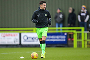 Forest Green Rovers Liam Shephard(2) warming up during the EFL Sky Bet League 2 match between Forest Green Rovers and Mansfield Town at the New Lawn, Forest Green, United Kingdom on 15 December 2018.