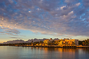 Loreto waterfront at sunrise, Baja California Sur, Mexico.