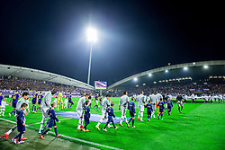 Players coming to the court during football match between NK Maribor and Sporting Lisbon (POR) in Group G of Group Stage of UEFA Champions League 2014/15, on September 17, 2014 in Stadium Ljudski vrt, Maribor, Slovenia. Photo by Vid Ponikvar  / Sportida.com