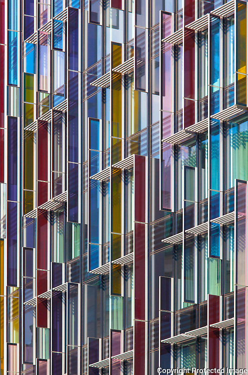 Park Plaza Hotel coloured glass facade, Westminster Bridge London. Built 2010, Architect: BUJ architects,