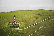 Westerhever Leuchtturm mit Salzwiese und Vorland in Eiderstedt, Nordfriesland (Schleswig-Holstein)