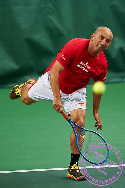 Helsinki, Finland - 2016 June 23: Javier Molina Ramos from Spain in action while team men's Austria Cup (Men 55) match between Spain and Australia during 2016 ITF Seniors World Team Championships at Talin Tenniskeskus on June 23, 2016 in Helsinki, Finland.<br /> <br /> Adam Nurkiewicz declares that he has no rights to the image of people at the photographs of his authorship.<br /> <br /> Picture also available in RAW (NEF) or TIFF format on special request.<br /> <br /> Any editorial, commercial or promotional use requires written permission from the author of image.<br /> <br /> Mandatory credit:<br /> Photo by &copy; Adam Nurkiewicz