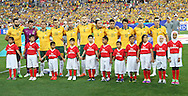 Australia line up during the AFC Asian Cup match at Stadium Australia, Sydney<br /> Picture by Steven Gibson/Focus Images Ltd +61 413 768835<br /> 31/01/2015