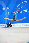 Moustafaeva Kseniya of France competes during the Rhythmic Gymnastics Individual hoop final of the World Cup at Adriatic Arena on April 3, 2016 in Pesaro, Italy. She  is a French individual rhythmic gymnast of Belarusian origin born in Minsk in 1994.