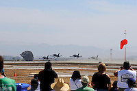 Part of the Patriots civilian jet team takes off before their performance at this weekend's California International Airshow Salinas. The exhibition featured state-of-the-art precision flying from the US Air Force Thunderbirds, Canada's CF-18 demonstration team and the Patriots jet team. Both days of the show highlighted aerobatic routines from Sean Tucker, Jacquie Warda and Kent Pietsch, aerial tributes to flying legends Clay Lacy and Bob Hoover, and plenty of static aircraft displays for the whole family.