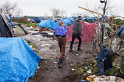 Afghan boys in Le Jungle refugee camp in Calais.