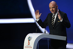 December 1, 2017 - Moscow, Russia - FIFA President Gianni Infantino speaks to the audience before the Final Draw for the 2018 FIFA World Cup at the State Kremlin Palace on December 01, 2017 in Moscow, Russia. (Credit Image: © Igor Russak/NurPhoto via ZUMA Press)