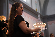 de Angelis Vocal Ensemble during a concert at Mission Basilica San Juan Capistrano on Saturday, Oct. 24, 2015 in San Juan Capistrano, California.