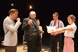 © Licensed to London News Pictures. 01/07/2015. London, UK. L-R: Edward Bennet as Kenneth Tynan, John Hodgkinson as Orson Welles, Ciaran O'Brien as Sean, Adrian Lukis as Laurence Olivier and Louise Ford as Joan Plowright. Photocall for the European Premiere of Orson's Shadow by Austin Pendleton at the Southwark Playhouse. The comedy, based on true events as Orson Wells and Laurence Olivier work together for the first time, runs from 1 to 25 July 2015. Photo credit : Bettina Strenske/LNP