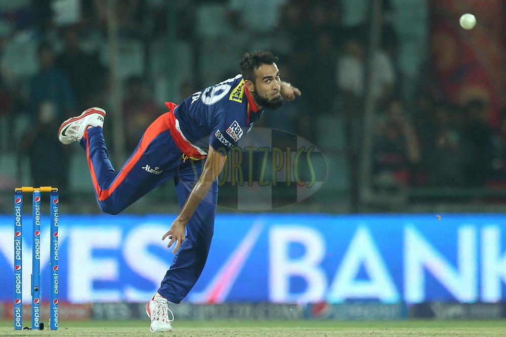Imran Tahir of the Delhi Daredevils bowls during match 21 of the Pepsi IPL 2015 (Indian Premier League) between The Delhi Daredevils and The Mumbai Indians held at the Ferozeshah Kotla stadium in Delhi, India on the 23rd April 2015.<br /> <br /> Photo by:  Deepak Malik / SPORTZPICS / IPL
