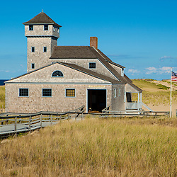 Race Point Beach and US Lifesaving Station in Provincetown, Massachusetts. Cape Cod National Seashore.