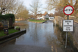 ©Licensed to London News Pictures 29/12/2019. <br /> Eynsford ,UK. Sunny mild weather at Eynsford bridge and ford as the river Darent flood water recedes in Eynsford, Kent.    Photo credit: Grant Falvey/LNP
