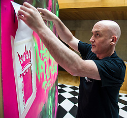 Pictured: Craig Robertson<br /> Scottish Parliament Presiding Officer Ken Macintosh MSP today launched the 2017 Festival of Politics programme.  He was joined by street artist Craig Robertson as a 12ft-by-6ft work of art commissioned for this year's festival - which runs between October 19 and 21 - was unveiled<br />  <br /> Ger Harley | EEm 27 June  2017