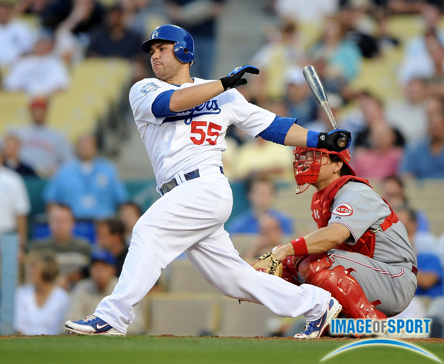 May 19, 2008; Los Angeles, CA, USA; Los Angeles Dodgers catcher Russell Martin (55) bats during game against the Cincinnati Reds at Dodger Stadium.