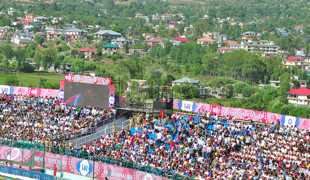 Crowd during match 69 of the the Indian Premier League ( IPL) 2012  between The Kings X1 Punjab and The Delhi Daredevils held at the HPCA Stadium, Dharamsala, on the 19th May 2012..Photo by Arjun Panwar/IPL/SPORTZPICS