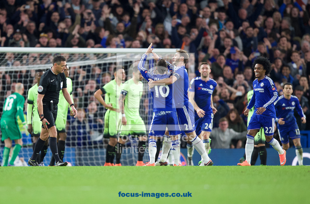Eden Hazard (10) of Chelsea celebrates with after scoring their fourth goal from his free kick during the FA Cup match at Stamford Bridge, London<br /> Picture by Alan Stanford/Focus Images Ltd +44 7915 056117<br /> 21/02/2016