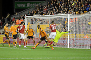Nottingham Forest striker Dexter Blackstock scores a goal during the Sky Bet Championship match between Wolverhampton Wanderers and Nottingham Forest at Molineux, Wolverhampton, England on 11 December 2015. Photo by Alan Franklin.