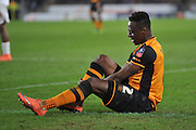 Hull City midfielder Moses Odubajo (2) sustains injury  during the The FA Cup fifth round match between Hull City and Arsenal at the KC Stadium, Kingston upon Hull, England on 8 March 2016. Photo by Ian Lyall.